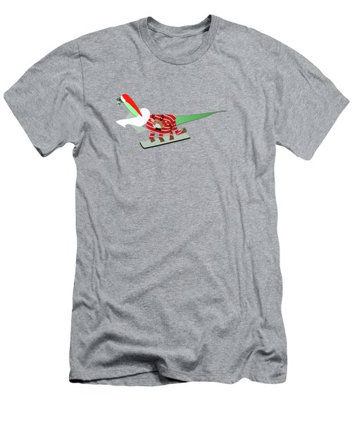 Dinosaur Snowboarding In Ugly Christmas Jumper Men's T-Shirt (Athletic Fit)