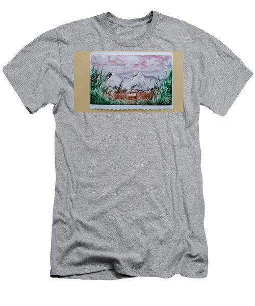 Distant Impressionistic Mountains Men's T-Shirt (Athletic Fit)
