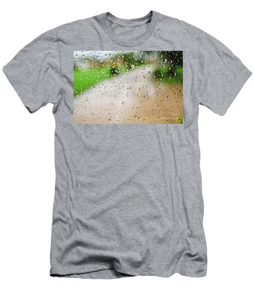 Drops Of Rain On An Autumn Day On A Glass. Men's T-Shirt (Athletic Fit)