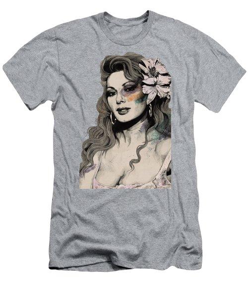 Edwige - Street Art Sexy Portrait Of Edwige Fenech Men's T-Shirt (Athletic Fit)