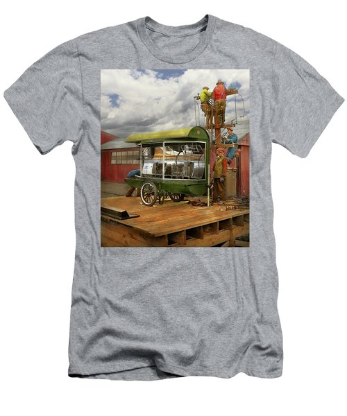 Men's T-Shirt (Athletic Fit) featuring the photograph Electrician - Linemen - Installing Search Lights 1929 by Mike Savad