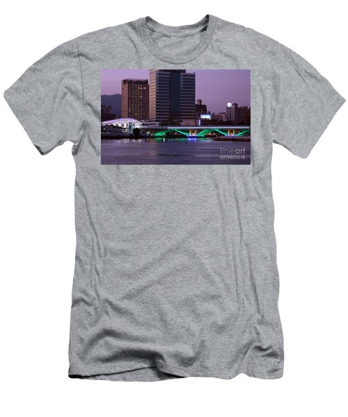 Men's T-Shirt (Athletic Fit) featuring the photograph Evening View Of The Love River And Illuminated Bridge by Yali Shi