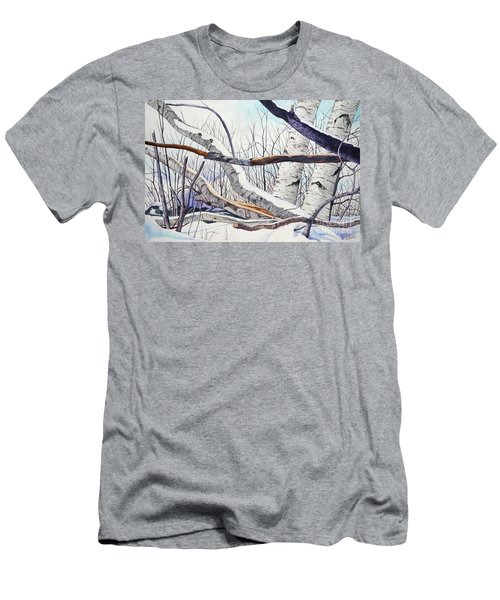 Fallen Birch Trees After The Snowstorm In Watercolor Men's T-Shirt (Athletic Fit)