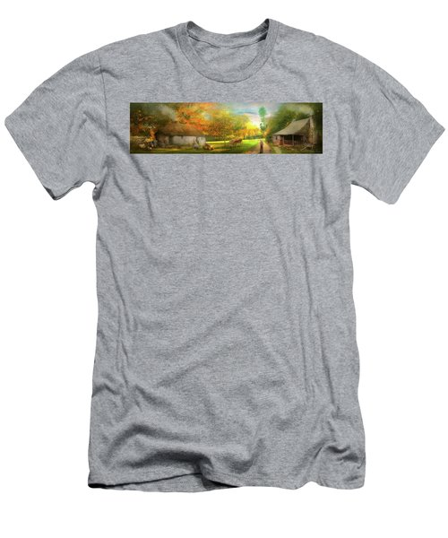 Men's T-Shirt (Athletic Fit) featuring the photograph Farm - End Of A Long Day by Mike Savad - Abbie Shores