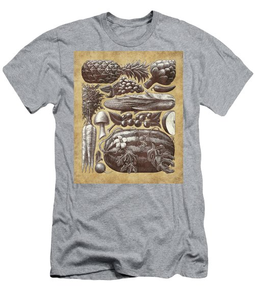 Men's T-Shirt (Athletic Fit) featuring the drawing Farmer's Market - Sepia by Clint Hansen