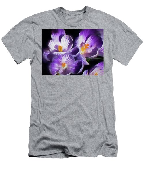 Men's T-Shirt (Athletic Fit) featuring the mixed media First Crocuses On The Sunny Side Of The Street by Lynda Lehmann