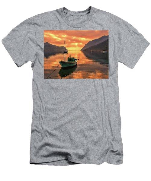 Fishing Boats At Sunset Simi Greek Islands-dwp40406001 Men's T-Shirt (Athletic Fit)