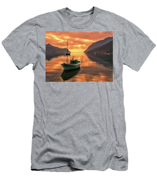 Fishing Boats At Sunset Simi Greek Islands-dwp40406001 Men's T-Shirt (Athletic Fit)