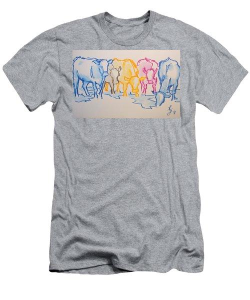 Five Cows Five Colors Watercolor Line Drawing Men's T-Shirt (Athletic Fit)