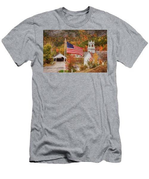 Flag Flying Over The Stark Covered Bridge Men's T-Shirt (Athletic Fit)