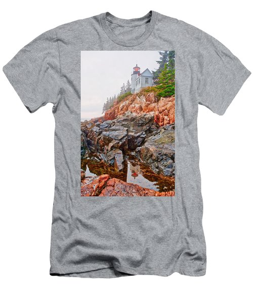 Foggy Bass Harbor Lighthouse Men's T-Shirt (Athletic Fit)