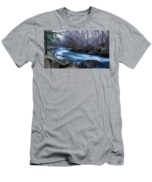 Frozen River Surrounded With Trees Men's T-Shirt (Athletic Fit)