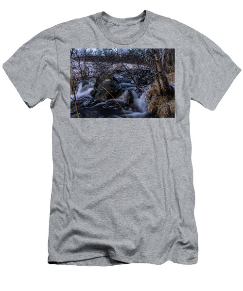Frozen Stream In Winter Forest Men's T-Shirt (Athletic Fit)