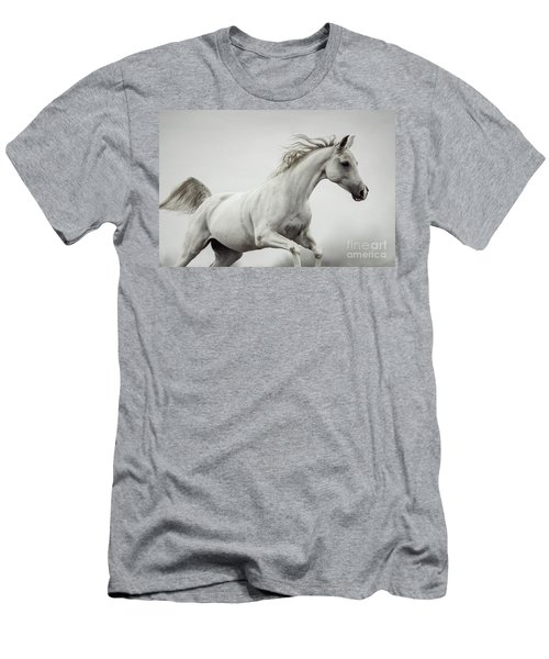 Men's T-Shirt (Athletic Fit) featuring the photograph Galloping White Horse by Dimitar Hristov