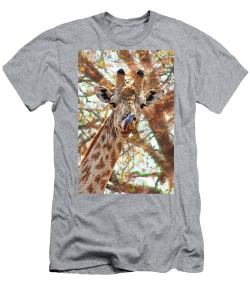 Giraffe Says Yum Men's T-Shirt (Athletic Fit)