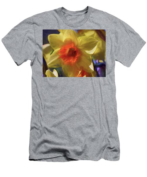 Men's T-Shirt (Athletic Fit) featuring the mixed media Golden Daffodil Brilliance by Lynda Lehmann