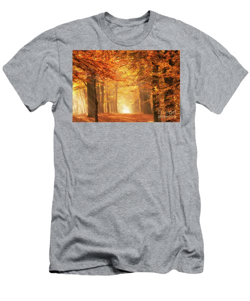 Men's T-Shirt (Athletic Fit) featuring the photograph Golden Forest In Fall Season by IPics Photography