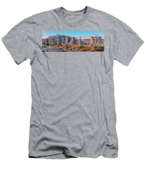 Golden Hour Fall Panorama Of Plaza Blanca - Abiquiu Rio Arriba County New Mexico Men's T-Shirt (Athletic Fit)