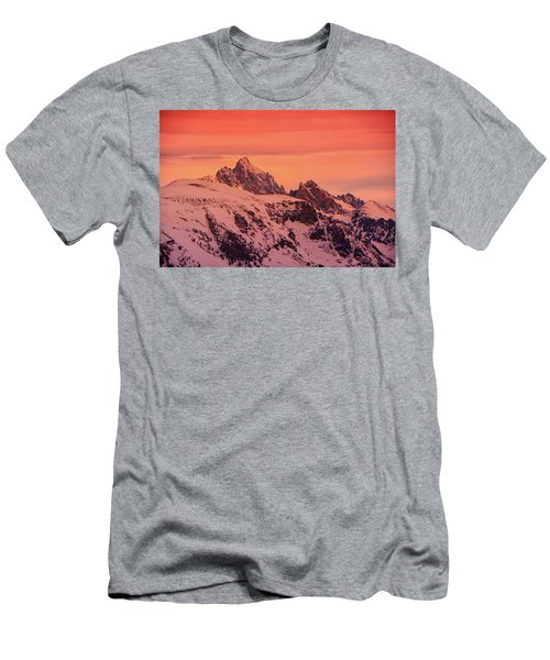 Men's T-Shirt (Athletic Fit) featuring the photograph Grand And Other Tetons From The Top Of Jackson Hole Ski Resort by Raymond Salani III