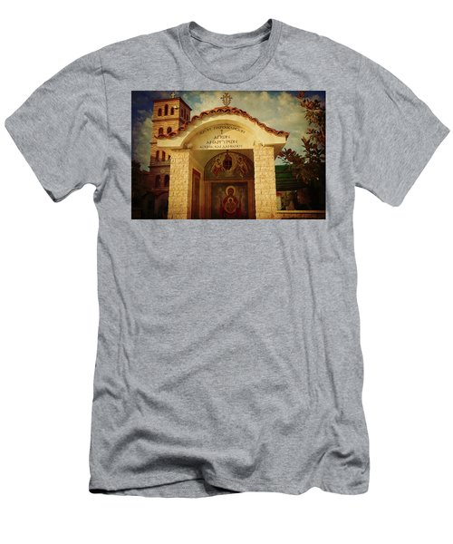 Men's T-Shirt (Athletic Fit) featuring the photograph Greek Church by Milena Ilieva