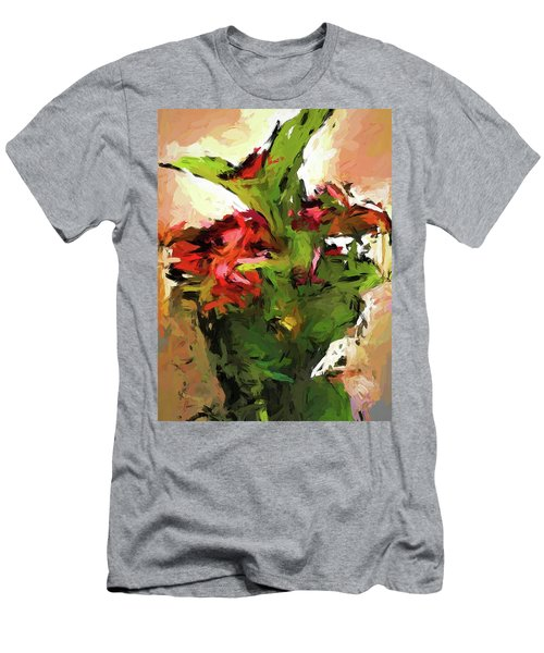Green Leaves And The Red Flower Men's T-Shirt (Athletic Fit)