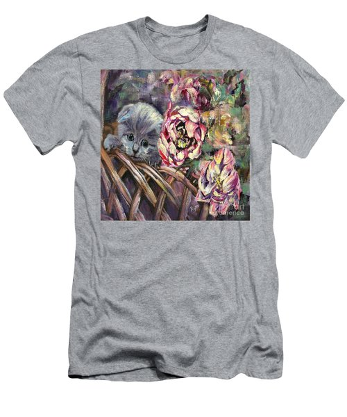 Men's T-Shirt (Athletic Fit) featuring the painting Grey Kitten In Basket Of Double Peony Floworing Tulips by Ryn Shell