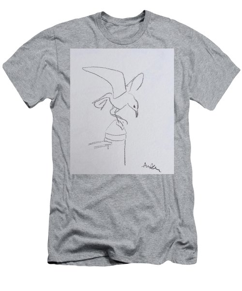 Gull On Pier Men's T-Shirt (Athletic Fit)