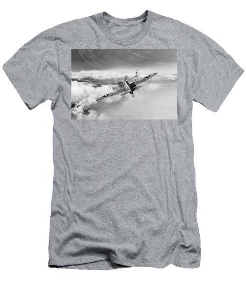 Men's T-Shirt (Athletic Fit) featuring the photograph Hawker Hurricane Deflection Shot Bw Version by Gary Eason