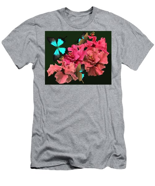 Men's T-Shirt (Athletic Fit) featuring the drawing Hibiscus Butterfly Joy by Joan Stratton