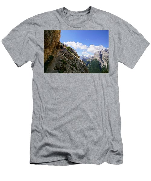 Hikers On Steep Trail Up Monte Piana Men's T-Shirt (Athletic Fit)