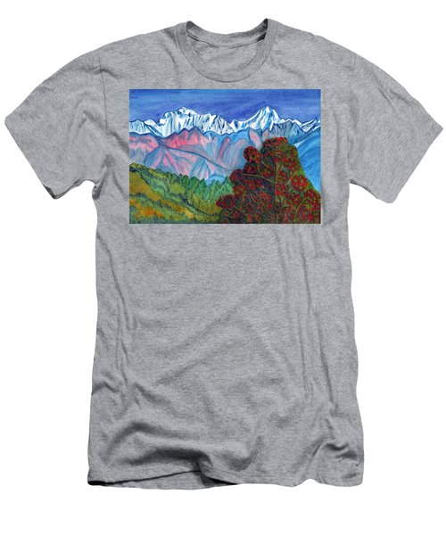 Blooming Tree On A Background Of Snowy Mountains Men's T-Shirt (Athletic Fit)