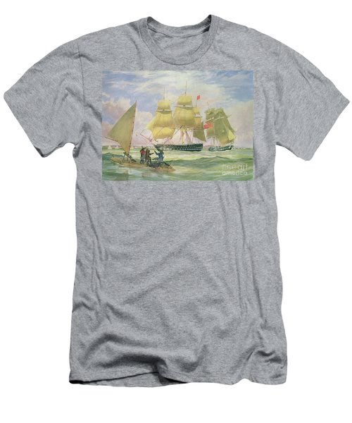 Hm Ships Ganges And Sapphire Off Pernambuco, 1829 Men's T-Shirt (Athletic Fit)