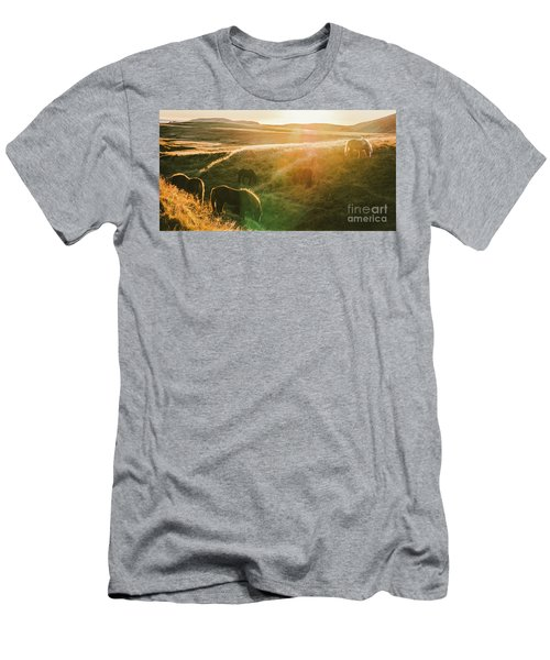 Icelandic Landscapes, Sunset In A Meadow With Horses Grazing  Ba Men's T-Shirt (Athletic Fit)