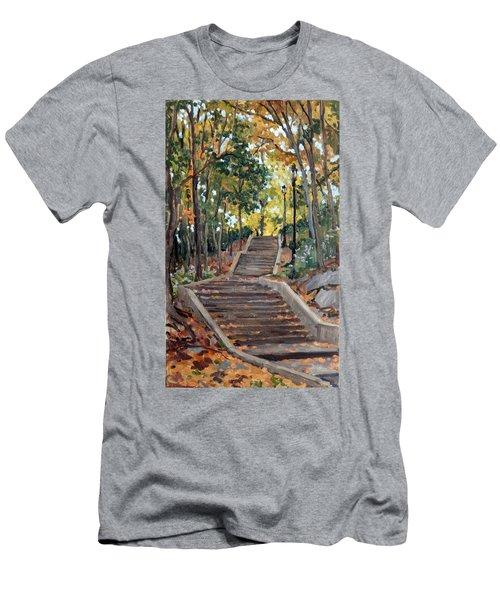 Isham Park Steps New York Autumn Men's T-Shirt (Athletic Fit)