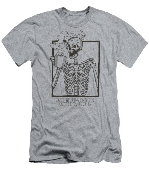 Just Waiting For The Coffee To Kick In Skeleton Men's T-Shirt (Athletic Fit)