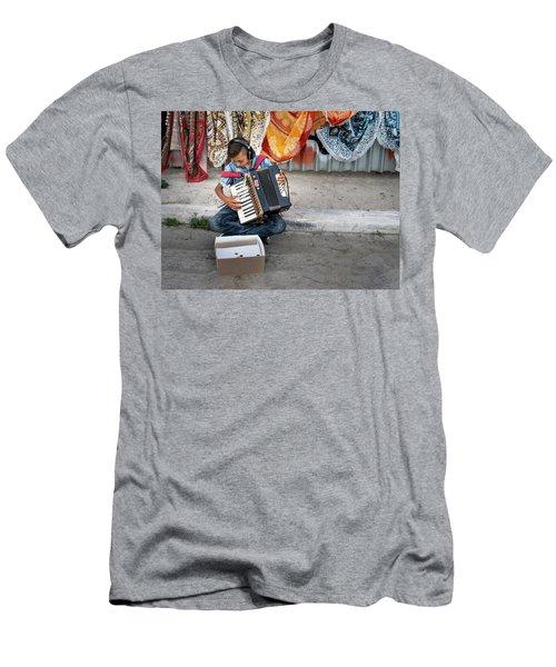 Kid Playing Accordeon Men's T-Shirt (Athletic Fit)