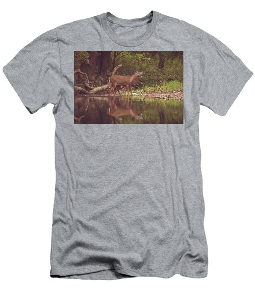 Men's T-Shirt (Athletic Fit) featuring the photograph Kissing Deer Reflection by Dan Sproul