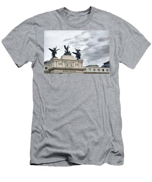 Men's T-Shirt (Athletic Fit) featuring the photograph La Gloria Y Los Pegasos Sculptures by Eduardo Jose Accorinti
