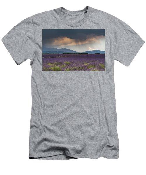 Lightning Over Lavender Field Men's T-Shirt (Athletic Fit)