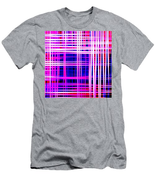 lines and squares in purple Color Waves - PL414 Men's T-Shirt (Athletic Fit)