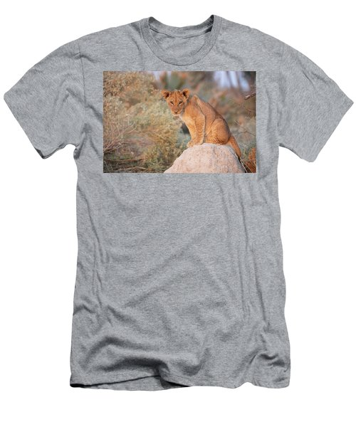 Men's T-Shirt (Athletic Fit) featuring the photograph Lion Cub On Termite Hill by John Rodrigues