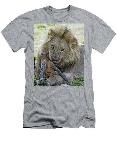 Men's T-Shirt (Athletic Fit) featuring the digital art Lion Prey by Larry Linton