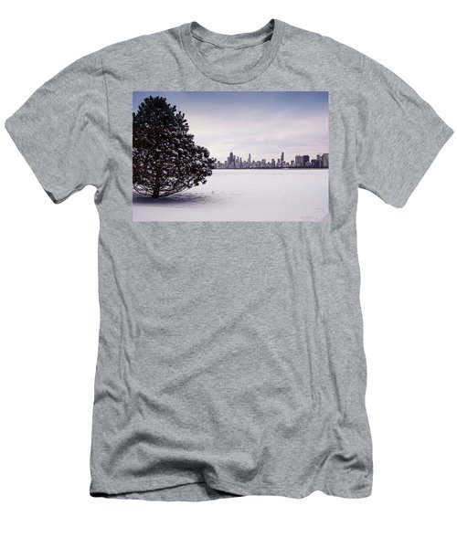 Men's T-Shirt (Athletic Fit) featuring the photograph Lovely Winter Chicago by Milena Ilieva