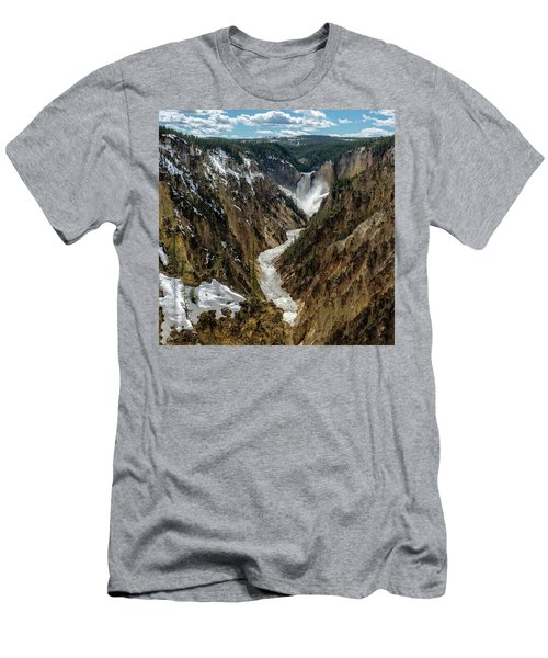 Men's T-Shirt (Athletic Fit) featuring the photograph Lower Falls In Yellowstone by Scott Read
