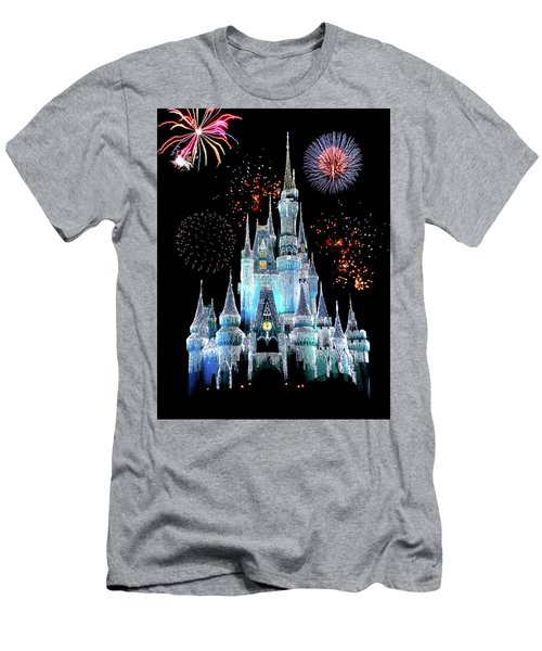 Magic Kingdom Castle In Frosty Light Blue With Fireworks 06 Men's T-Shirt (Athletic Fit)