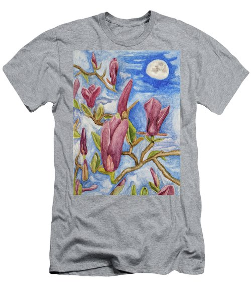 Magnolias With Daytime Moon Men's T-Shirt (Athletic Fit)