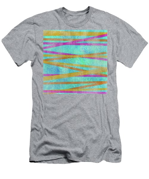Malaysian Tropical Batik Strip Print Men's T-Shirt (Athletic Fit)