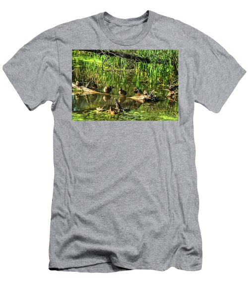 Men's T-Shirt (Athletic Fit) featuring the photograph Mallard Family by Edward Peterson