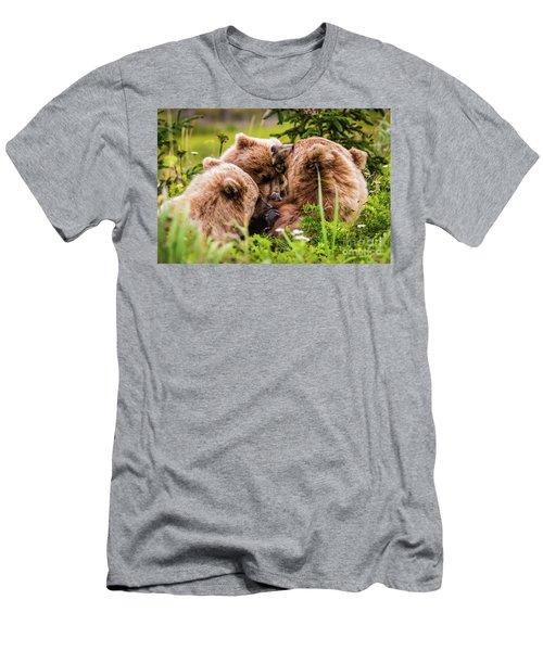 Mama Bear Nursing Her Two Cubs, Lake Clark National Park, Alaska Men's T-Shirt (Athletic Fit)
