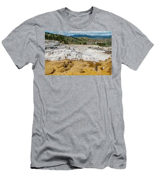 Men's T-Shirt (Athletic Fit) featuring the photograph Mammoth Hot Springs And Hotel by Matthew Irvin